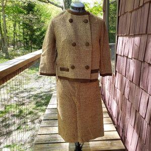 Vintage 1960s Butte Knit Wool Suit Skirt Set